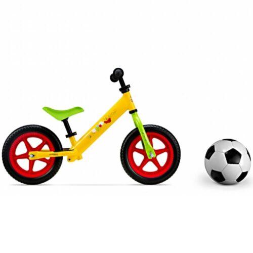 Bicicleta fara pedale pentru copii Pegas , din metal, model Disney WTP, culoare galben/verde, DIS-9904-MBWP04