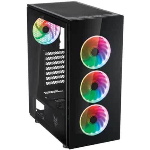 Carcasa FSP CMT340 Plus Gaming, RGB, ATX, 2x USB 3.0, Negru