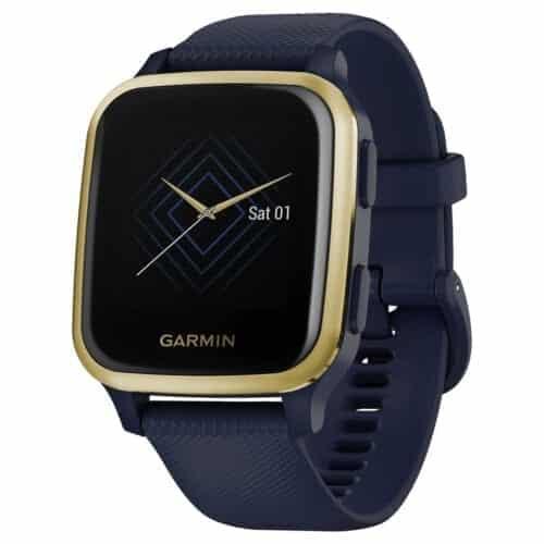 Ceas smartwatch Garmin Venu Sq, Music Edition, Captain Blue / Light Gold, 010-02426-12