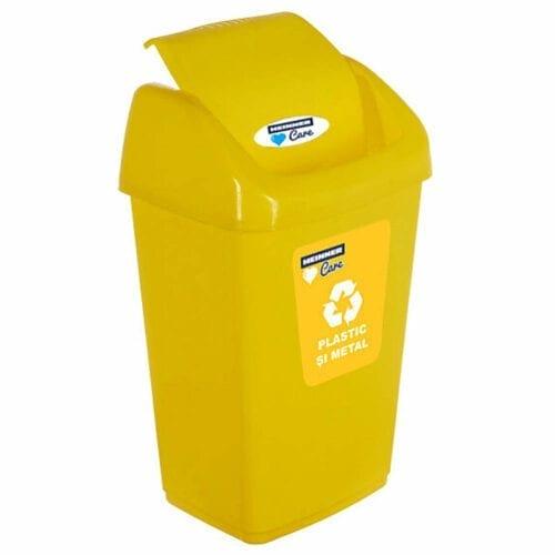 Cos de gunoi pentru reciclare selectiva Heinner Care, capac batant, 25 L, Galben, HR-PW-4525G