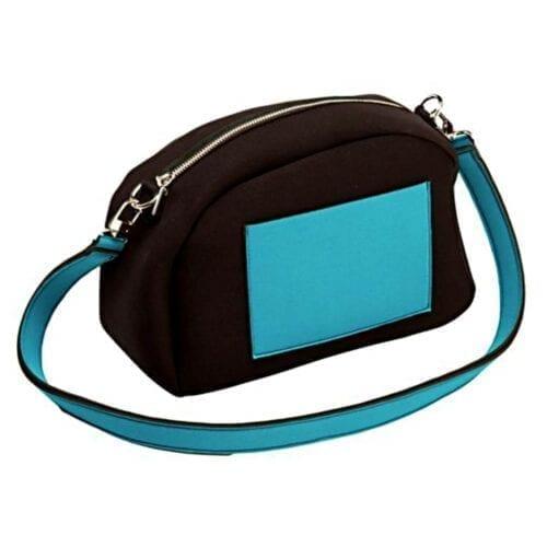 Geanta de umar Nfun Trendy, material neopren, culoare negru/turcoaz, NFCVB054