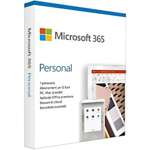 Licenta Microsoft 365 Personal, Engleza, Subscriptie 1 an, 1 utilizator, Medialess, Retail, QQ2-00989