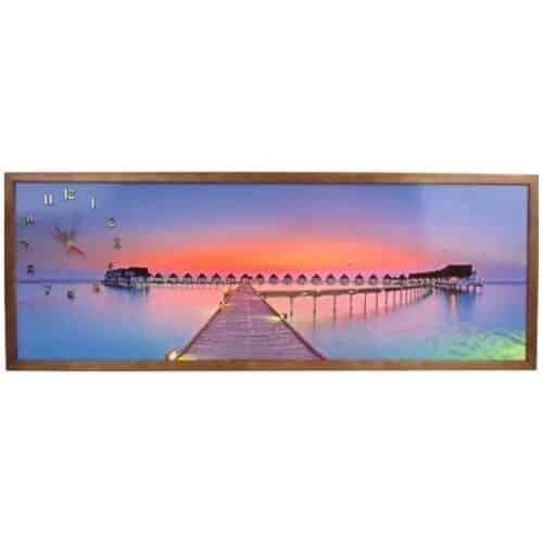 Tablou cu ceas inramat Heinner, 35 x 100 cm, Sunset
