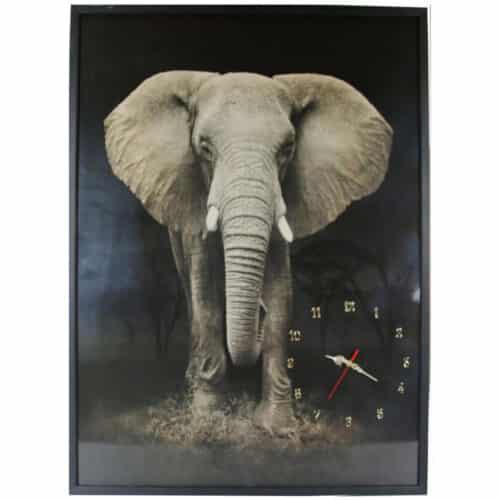 Tablou cu ceas inramat Heinner Elefant, 70 x 100 cm, Rama din lemn masiv