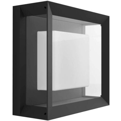 Aplica exterior LED RGBW integrat Philips Econic HUE, 15W (79W), 1150 lm, lumina alba/color, IP44, metal/sticla, patrat, 000008718696170564