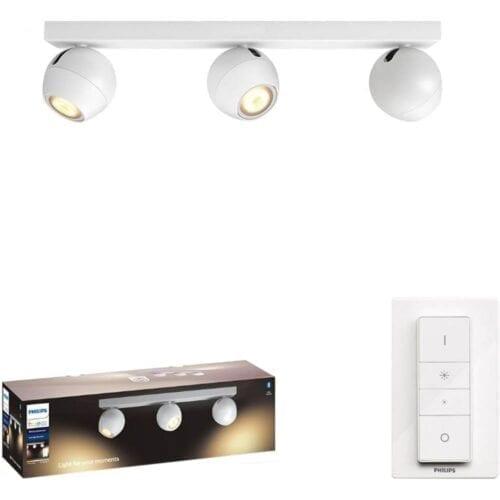 Bara cu 3 spoturi luminoase Philips Buckram Hue, Bluetooth, 3xGU10, 5W (50W), 350 lm, lumina ambianta alba, Alb, 000008718696175651