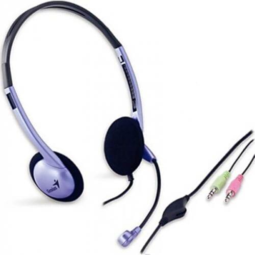 Casti audio Genius HS-02B, cu fir, Jack 3.5 mm x 2, microfon, utilizare multimedia, Albastru