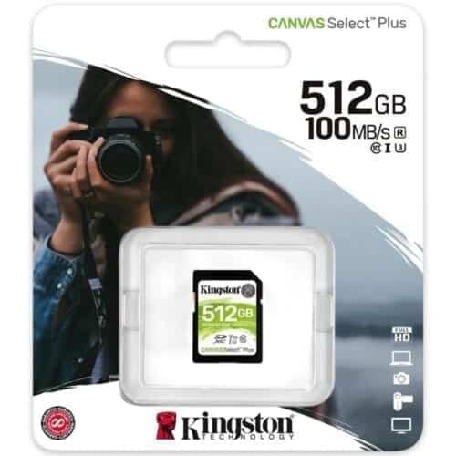 Card de memorie Kingston Canvas Select Plus SD 512GB, Clasa 10 UHS-I, SDS2/512GB