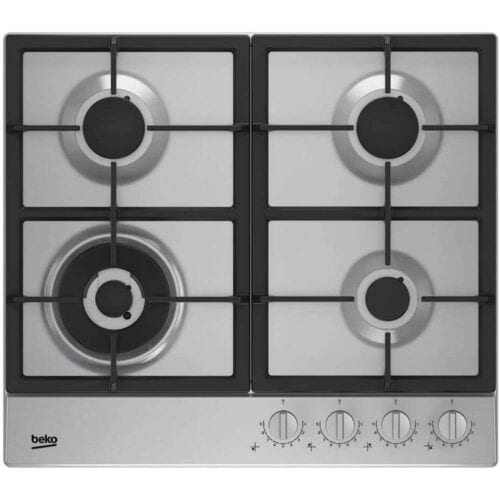 Plita incorporabila Beko HIAW64325SX, Gaz, 4 arzatoare, FlameAdjust™, Arzator wok, Gratare fonta, 60 cm, Inox