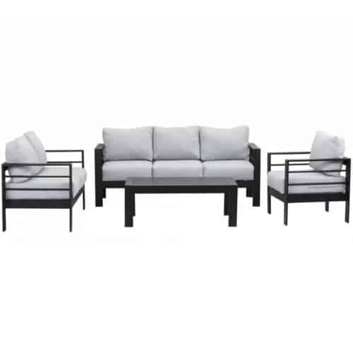 Set Mobilier Heinner Valeta NK116, 4 Piese, perne incluse, aluminiu, negru/gri