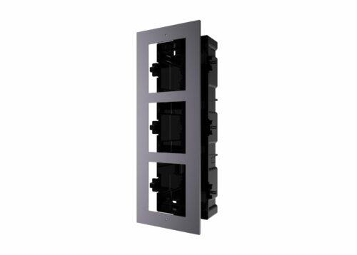 Panou frontal pentru 3 module videointerfon modular Hikvision DS-KD-ACF3; permite