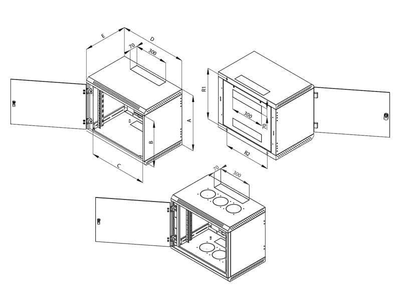 Triton Rack Perete 1-Section 15U/600 Negru