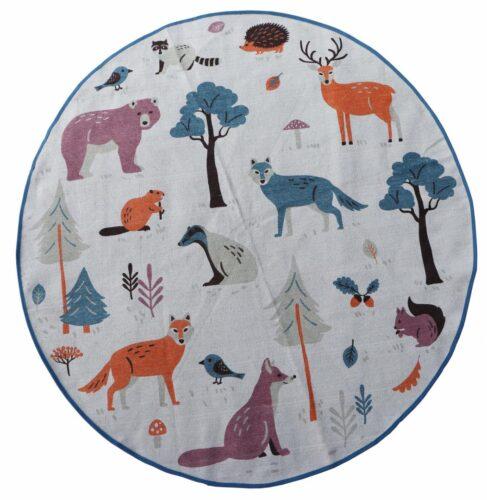 Covor copii printat cu animale 110 cm