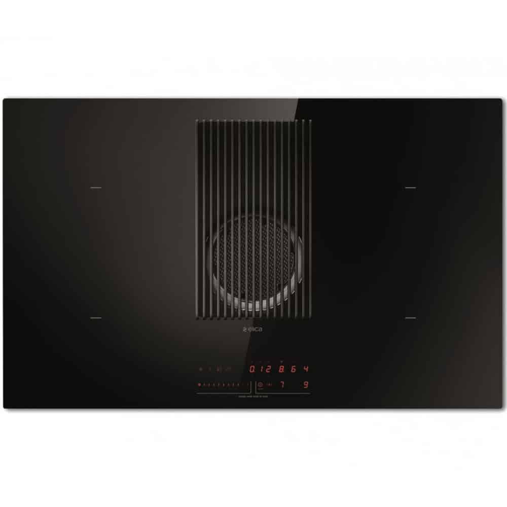 Plita Elica NIKOLATESLA PRIME BL/A/83, cu hota, 83x51x21 cm, Sticla Neagra
