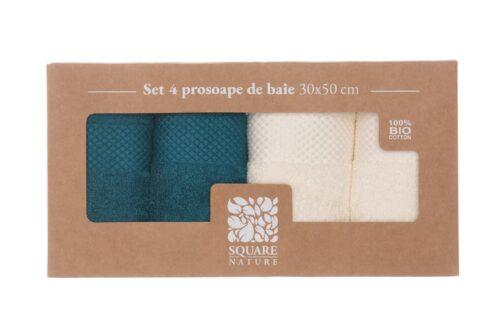 Set 4 prosoape baie 30x50 cm - Blue mix Square