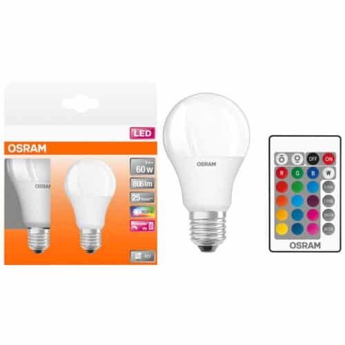 Set 2 becuri LED RGBW cu telecomanda Osram Star, dimabil, E27, 9W, 806 lm, A+, lumina alba si colorata