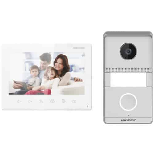 Kit videointerfon analog Hikvision DS-KIS101-P/S, plug & play, 2MP HD, microfon si difuzor, 7