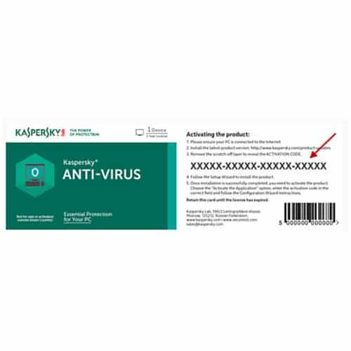Scratch card Kaspersky Antivirus 2019