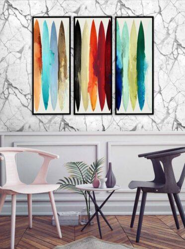 Set 3 tablouri decorative Abstract Color