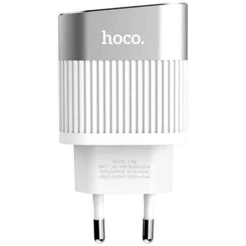 Incarcator retea USB Hoco C40A cu afisaj LED, 2x USB, Alb
