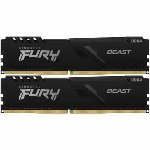 Kit Memorie RAM PC Kingston FURY Beast, Black, 16GB (2 x 8GB) DDR4, 3200 MHz, CL16, 1.35V, DIMM