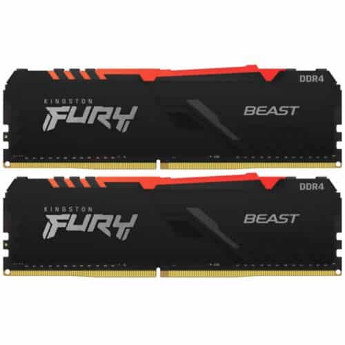 Kit Memorie RAM PC Kingston FURY Beast, RGB, 16GB (2 x 8GB) DDR4, 3200 MHz, CL16, 1.35V, DIMM