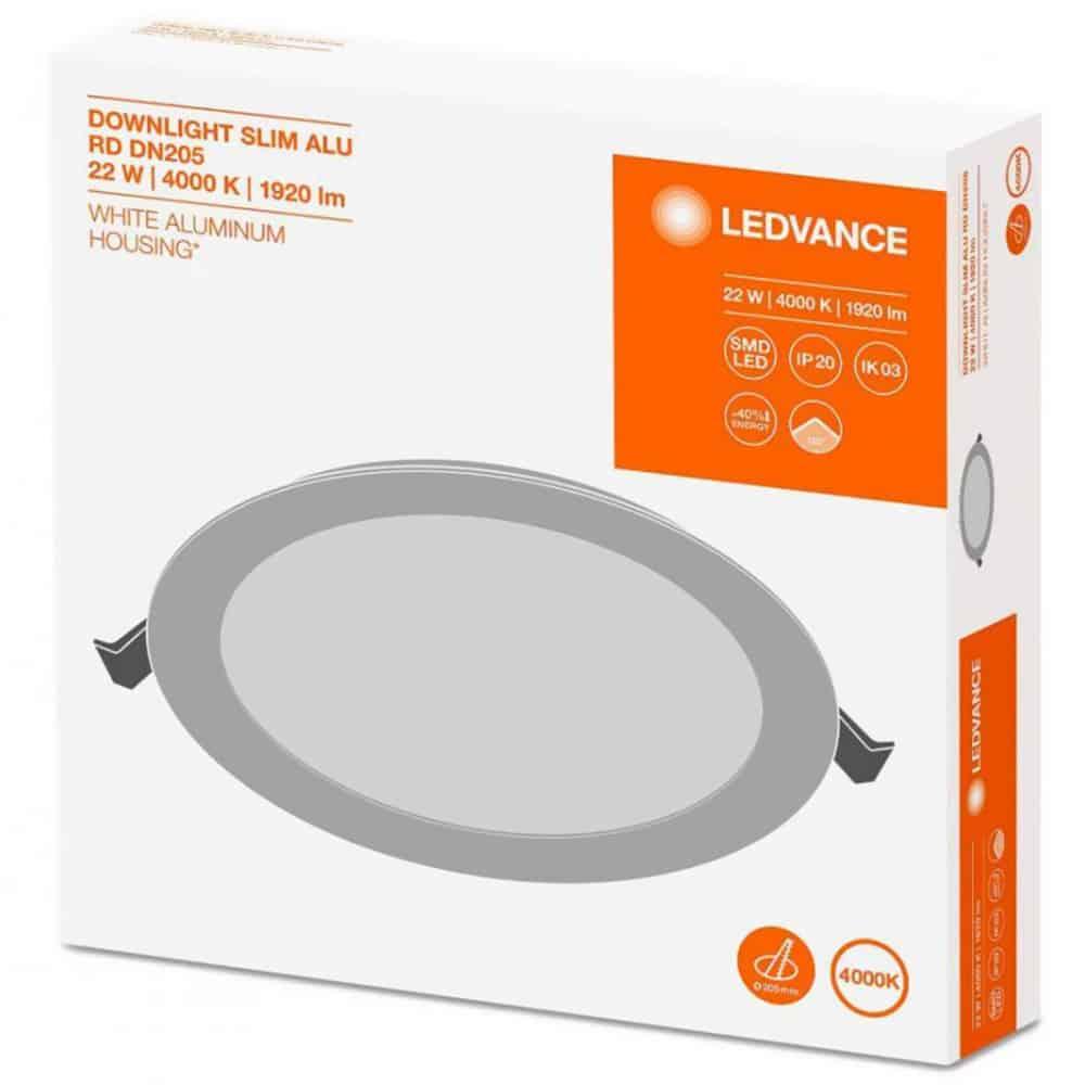 Panou LED Ledvance Downlight Slim Alu, IP20, 12 W, 240 VAC, diametru 155mm, lumina alba