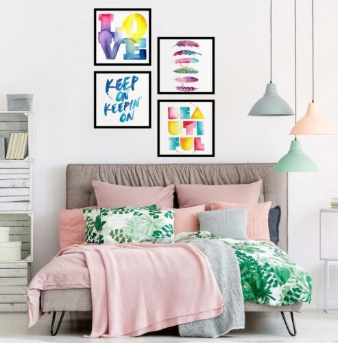 Set 4 tablouri decorative Love