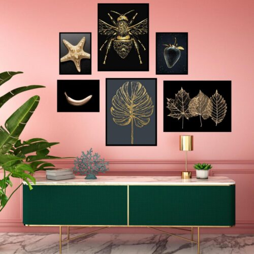 Set 6 tablouri decorative Gold Star