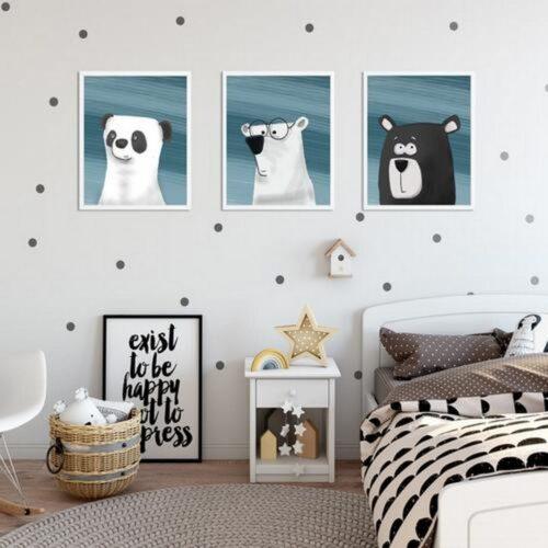 Set 3 tablouri decorative Animale