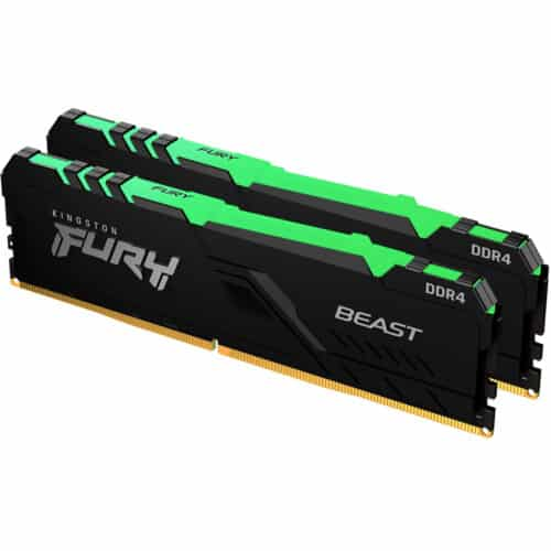 Kit memorie RAM Kingston Fury Beast KF430C15BB1AK2/32, RGB, 32GB, DDR4, 3000MHz, CL15, Dual Channel