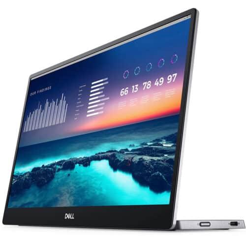 Monitor Portabil LED IPS Dell 14'', Full HD, 60Hz, 6ms, 2 x USB Type-C, Display Port, USB, C1422H
