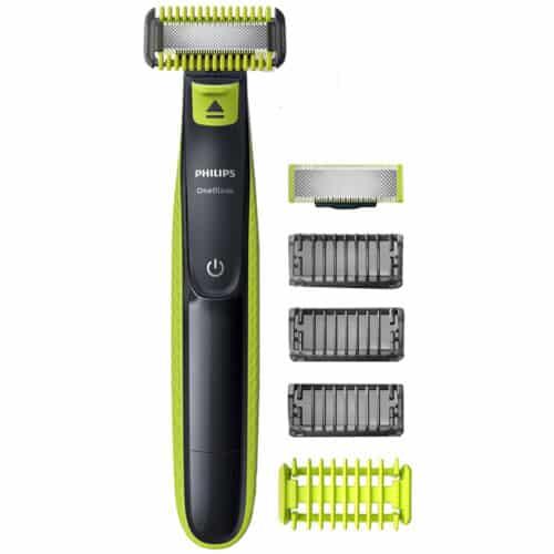 Aparat de barbierit tuns barba si parul corporal Philips OneBlade QP2620/20, 4 piepteni, 2 lame, Negru/Verde